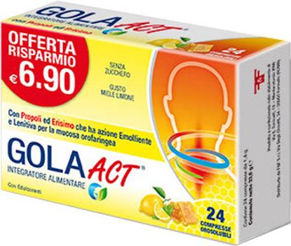 Immagine di GOLA ACT MIELE LIMONE 24 COMPRESSE SOLUBILI 33,6 G