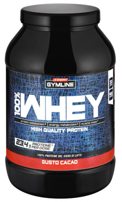 Immagine di GYMLINE 100% WHEY CONCENTRATE CACAO 900 G