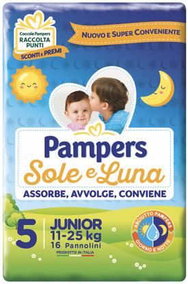 Immagine di PANNOLINO PER BAMBINO PAMPERS SOLE & LUNA FLASH JUNIOR 16 PEZZI